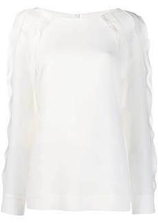 Escada scallop trim blouse
