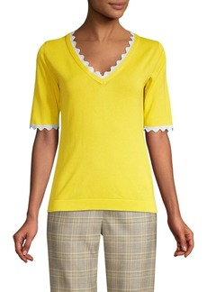 Escada Scallop Trim Knit Tee