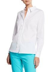 Escada Scalloped Long-Sleeve Cotton Button-Front Top