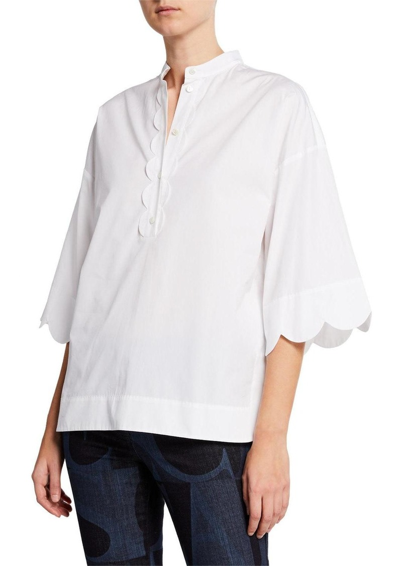 Escada Scalloped Placket Cotton Tunic
