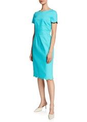 Escada Scalloped Short-Sleeve Detail Dress