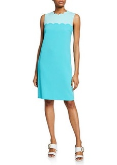 Escada Scalloped Sleeveless Sheath Dress