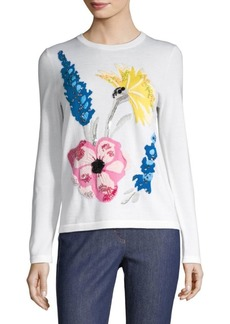 Escada Senti Embroidered Floral Knit Sweater