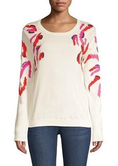Escada Sequin Embellished Zebra-Print Sweater