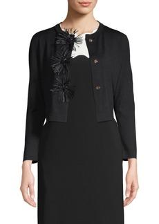 Escada Sfera Jeweled Feather-Button Wool & Silk Cardigan