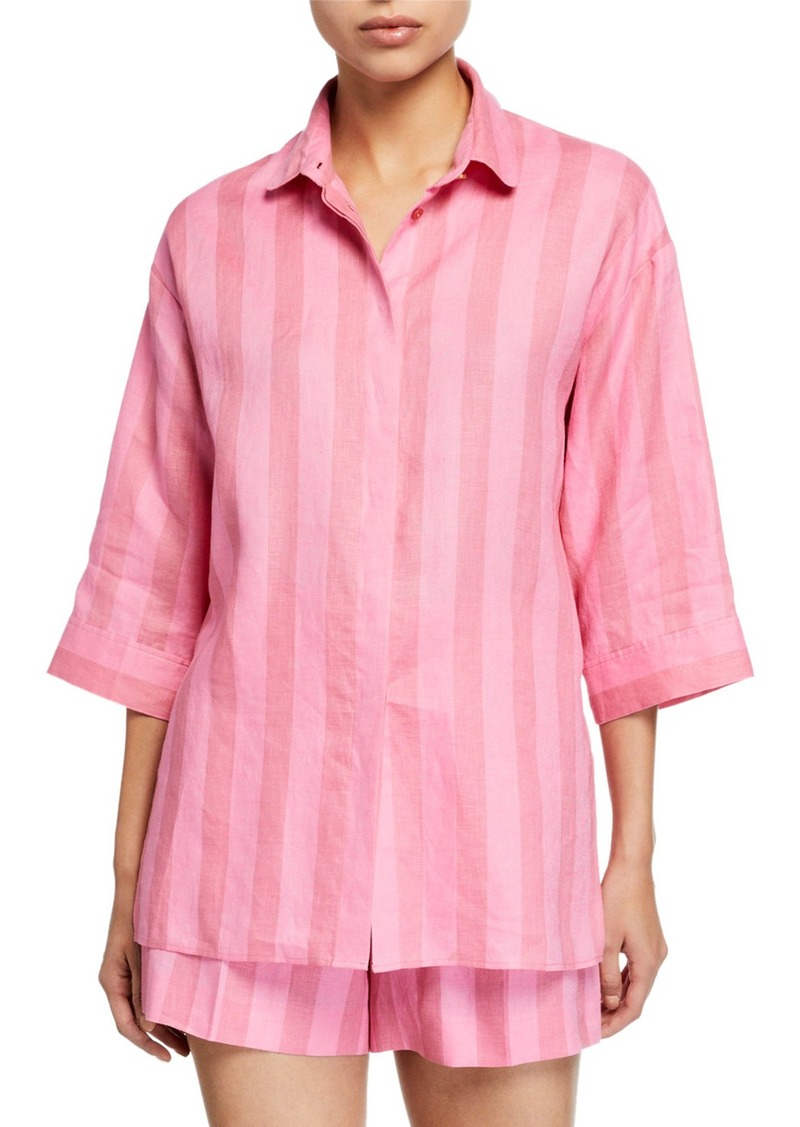 Escada Shadow-Striped Button Front Linen Tunic