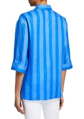 Escada Shadow-Striped Button Front Linen Tunic