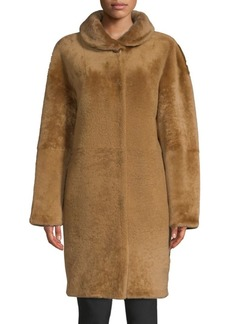 Escada Shearling Jewel-Button Coat