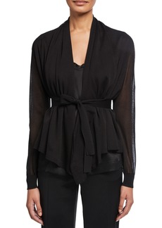 Escada Sheer Silk-Cotton Draped Cardigan
