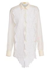 Escada Sheer Silk Lace Blouse
