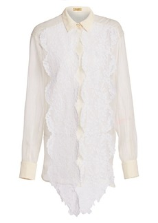 Escada Sheer Silk Lace Blouse