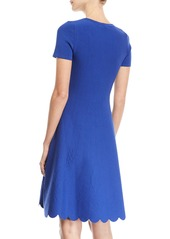 Escada Short-Sleeve Fit-and-Flare Jacquard-Knit Dress w/ Scallop Hem