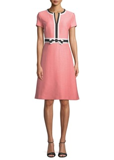 Escada Short-Sleeve Fit-and-Flare Tweed Dress w/ Grosgrain Bow