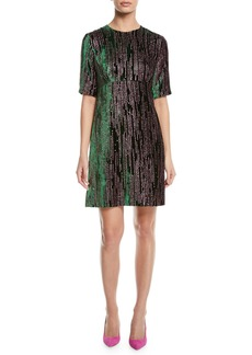 Escada Short-Sleeve Glitter-Velvet A-Line Dress