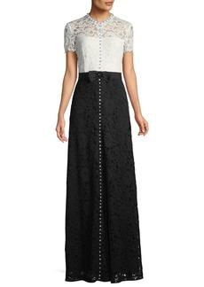 Escada Short-Sleeve Lace Evening Gown w/ Crystal Detail & Grosgrain Belt