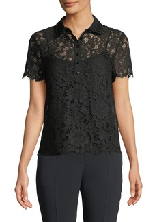 Escada Short-Sleeve Lace Polo Top w/ Camisole