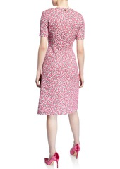 Escada Short-Sleeve Mini Daisy Jacquard Dress