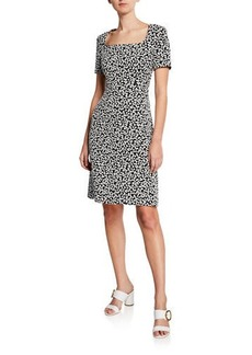 Escada Short-Sleeve Mini Daisy Jacquard Dress