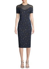 Escada Short-Sleeve Night-Sky Jacquard Sheath Dress