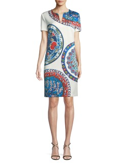 Escada Short-Sleeve Pottery-Medallion Print Chemise Dress