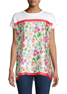 Escada Short-Sleeve Satin Floral Tee