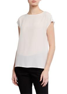 Escada Silk Button-Shoulder Cap-Sleeve Top