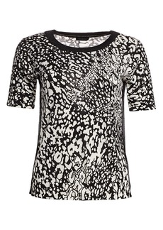 Escada Sindra Abstract Leopard-Print Sweater