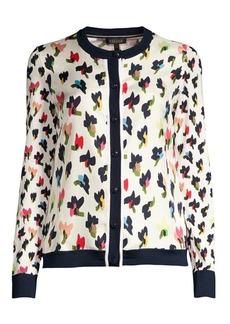 Escada Siora Wool & Silk Floral Cardigan