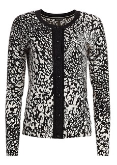 Escada Sivan Abstract Leopard-Print Cardigan