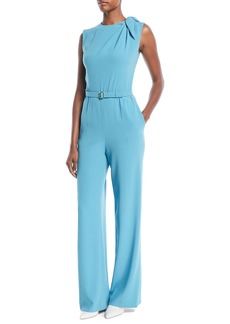 Escada Sleeveless Belted Wide-Leg Crepe Pants