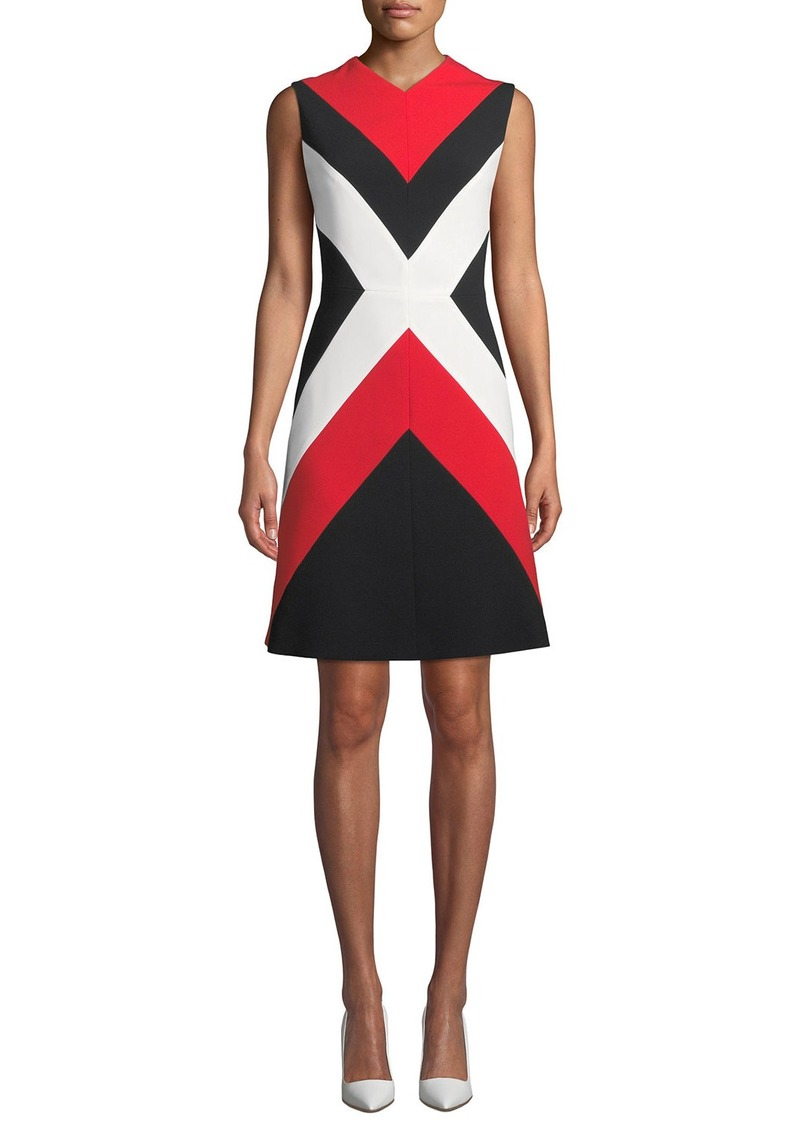 Escada Sleeveless Colorblock A-Line Dress