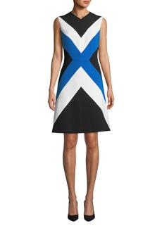 Escada Sleeveless Colorblocked A-Line Dress