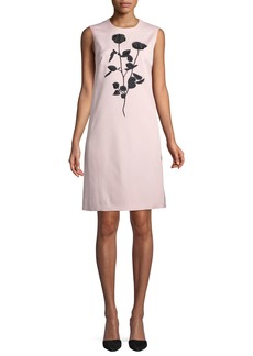 Escada Sleeveless Floral-Embroidered Sheath Dress