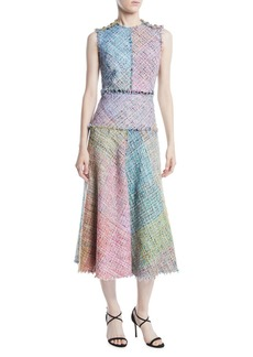 Escada Sleeveless Metallic Multi-Tweed Mid-Length Dress w/ Fringe Trim