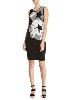 Escada Sleeveless Orchid-Intarsia Knit Pullover Dress