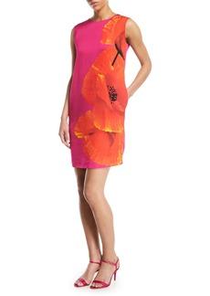 Escada Sleeveless Orchid-Print Shift Dress