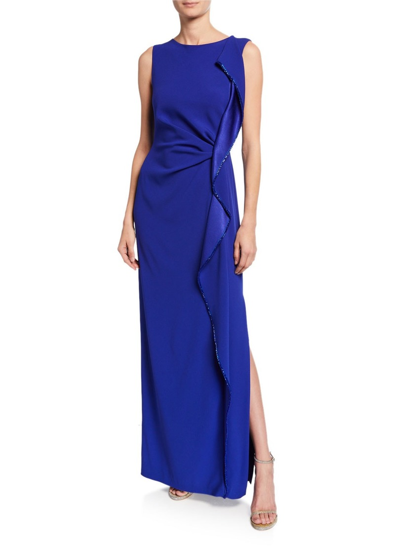 Escada Sleeveless Ruffle Front Gown