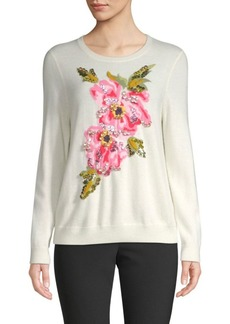 Escada Slowana Floral Virgin Wool & Cashmere Intersia Sweater