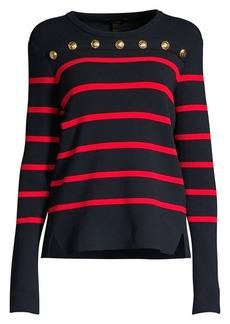 Escada Soah Button Trim Striped Crewneck Sweater