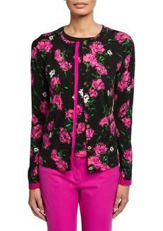 Escada Sonan Floral-Jacquard Wool Cardigan