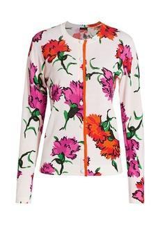 Escada Sonan Marigold Floral Wool Cardigan