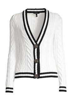 Escada Soros Cable Knit Jewel Button Cardigan