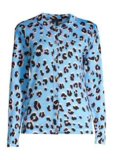 Escada Soshiban Wool & Silk Leopard Cardigan