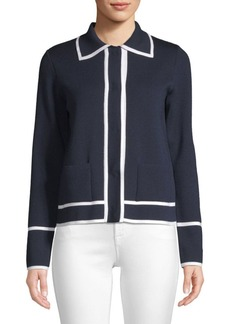 Escada Stile Tipped Wool Snap Front Cardigan