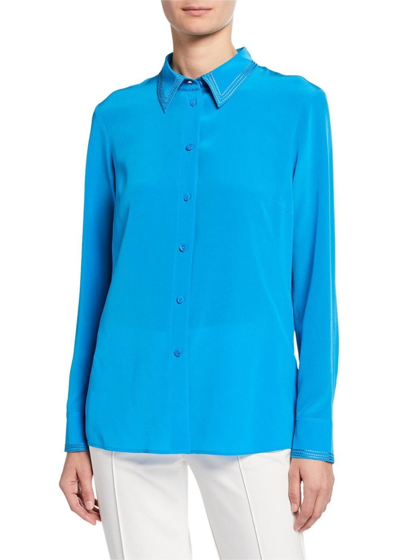 Escada Stitched Georgette Button-Front Blouse