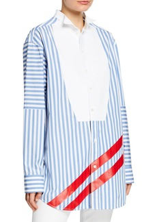 Escada Striped Bibbed Long-Sleeve Blouse