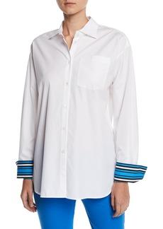 Escada Striped-Cuffs Long-Sleeve Button-Down Cotton Blouse