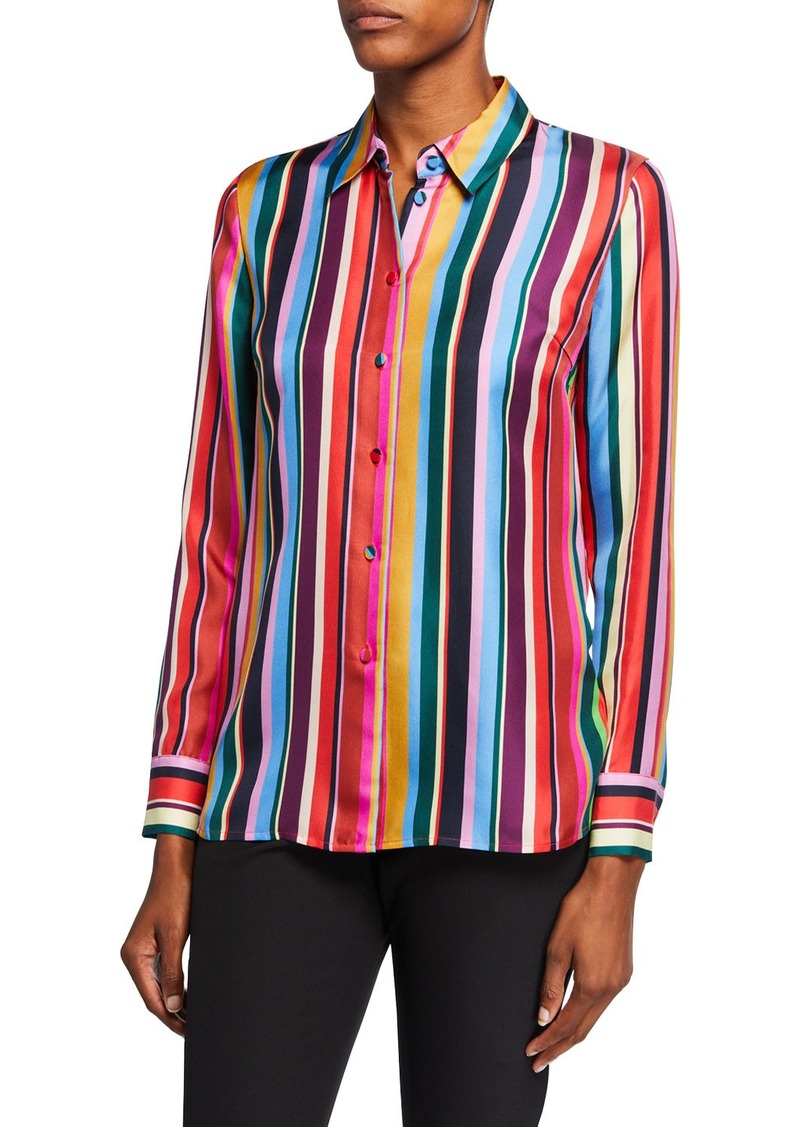 Escada Striped Silk Button-Front Shirt