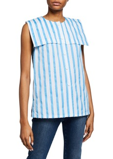 Escada Striped Sleeveless Raw-Edge Sailor Shirt