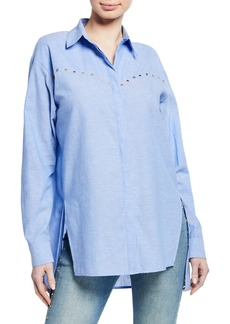 Escada Studded Chambray Tunic Blouse